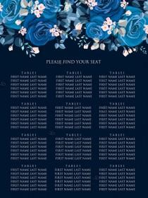 wedding photo -  Navy blue pink roses royal indigo sapphire floral background wedding Invitation set PDF 18x24 in seating chart edit online