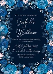 wedding photo -  Navy blue pink roses royal indigo sapphire floral background wedding Invitation set PDF 5x7 in