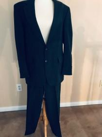 wedding photo - Vintage 1990s Steel Gray Pin-Striped Suit