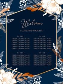 wedding photo -  Online Editor - Peony foil gold navy classic blue background seating chart welcome banner wedding Invitation set PDF 18x24 in personalized invitation