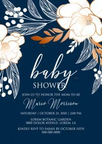 wedding photo -  Online Editor - Peony foil gold navy classic blue background baby shower wedding Invitation set PDF 5x7 in invitation maker