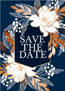 wedding photo -  Online Editor - Peony foil gold navy classic blue background wedding Invitation set save the date card PDF 5x7 in online maker