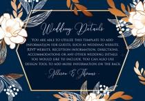 wedding photo -  Online Editor - Peony foil gold navy classic blue background wedding details card Invitation set PDF 5x3.5 in customizable template