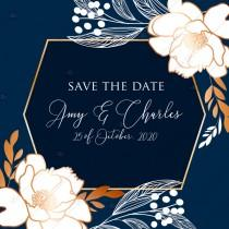 wedding photo -  Online Editor - Peony foil gold navy classic blue background save the date wedding Invitation set PDF 5.25x5.25 in customize online