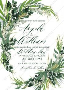 wedding photo -  Provence bohemian greenery and field herbs wedding invitation set PDF 5x7 in online maker