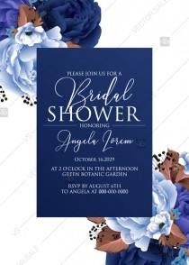 wedding photo -  Bridal shower wedding invitation set navy blue peony anemone PDF 5x7 in customizable template