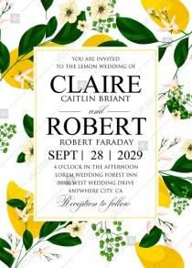 wedding photo -  Lemon Wedding Invitation suite template printable greenery PDF 5x7 in