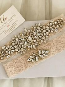wedding photo - Gold wedding garter set, no slip grip blush lace garter toss and keepsake. Antique white cream rhinestone lace bridal garter belt plus size