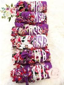 wedding photo - Floral Bridesmaid Robe, Bridesmaid Gift, Personalized Robe, Flower Girl Robe, Bridal Robe, Cotton Floral Robe