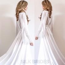 wedding photo - New Long Bridal Robe with Train, White Maxi Dressing Gown, Luxury Wedding Gift