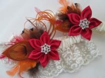 wedding photo - Christmas Red Wedding Garter Set, Burnt Orange Peacock Garters, Ivory Lace Garters, Rustic Bridal Garter, Barn Wedding, Country Bride