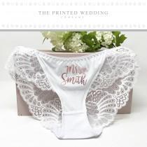 wedding photo - Bridal Panties - Custom Bridal Panties - Personalized Wedding Underwear - Custom Bride Panties - Wedding Lingerie - Mrs Panties - Lace Brief