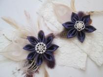 wedding photo - Plum Purple Wedding Garter Set, Peacock Garters, Ivory Lace Bridal Garters, Purple Eggplant Garters, Fall / Autumn Country Bride