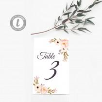 wedding photo - Watercolor Floral Wedding Table Numbers Template: Coral and Pink Flowers - Create up to 10 table numbers with one template purchase!