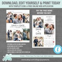 wedding photo - Editable Save The Date Card with Photos and Calendar Template, Instant Dowload, Save Our Date Card, Picture, Photos, Photograph, Wedding,10S