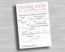 wedding photo - Bridal Shower Game - Advice for the Bride - Mad Libs - Advice for the Bride and Groom - Activity - Bridal Shower Ideas - Wedding Shower