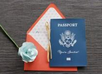 wedding photo - Starfish Passport Wedding Invitation - Navy & Coral - Available in all colors + foil