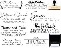 wedding photo - Personalized Address Stamp Self Ink 3 Line Self Inking Modern Business Family or Wedding Stamper Custom Stamps Housewarming Gift