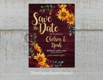 wedding photo - Rustic Burgundy Fall Wedding Save The Date Card,Sunflowers,Burgundy Roses,Barn Wood,Gold Print,Shimmery,Personalize,Printed Cards