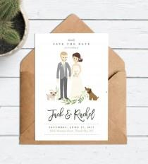 wedding photo - Wedding Save the Date Couple Drawing, Custom Portrait Invite Rustic, Cartoon Wedding Invitation, Custom Portrait Invitation