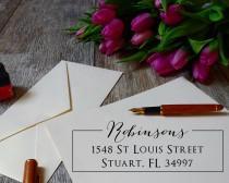 wedding photo - Personalized Address Stamp Self Ink 3 Line Self Inking Modern Business Family or Wedding Stamper Custom Stamps Housewarming Gift Address