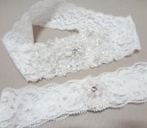 wedding photo - Wedding Garter Set, White Lace Garter Set, White Garter, Lace Garter