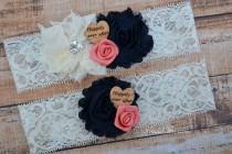 wedding photo - Ivory Navy Blue Coral Bridal Garter Set