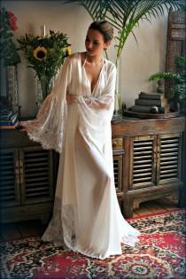 wedding photo - Satin Bridal Robe Lace Trimmed Angel Sleeve Wedding Sleepwear Bridal Lingerie Wedding Kimono Robe Satin Lingerie Wedding Robe