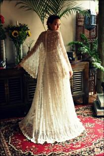 wedding photo - Reign Collection Bridal Robe Embroidered French Lace Netting Wrap Angel Sleeve Wedding Lingerie Sleepwear Ivory Lace Dressing Gown