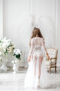 wedding photo - Boudoir dress, bridal robe, wedding robe lace,womens robe, getting ready robe, bridal lingerie, womens robe, honeymoon lingerie