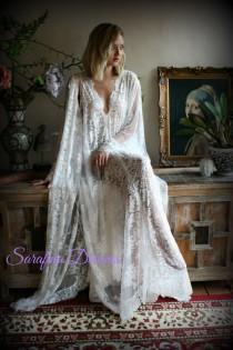 wedding photo - Bridal Lace Wedding Robe Bridal Lingerie Wedding Sleepwear Off White Lace Lingerie Bridal Robe Honeymoon Lingerie