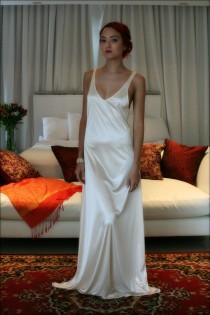 wedding photo - Bridal Nightgown Satin Slip Dress Liner Bridal Slip Wedding Slip Formal Length Slip Dress Liner Champagne Slip White Slip Black Slip