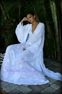 wedding photo - 100% Cotton Embroidered Robe Bridal Lingerie Wedding White Robe White Sleepwear White Lingerie Cotton Sleepwear Cotton Lingerie