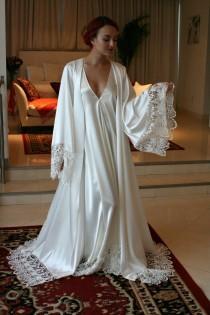 wedding photo - Satin Bridal Robe Wedding Trousseau Satin Sleepwear Wedding Robe Bridal Lingerie Venise Lace Satin Wedding Lingerie Lace Robe