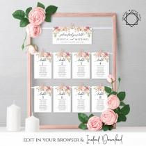 wedding photo - Marsala Wedding Seating Chart Template Floral Printable Table Seating Plan Editable Hanging Seating Templates Instant Download Templett F4