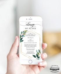 wedding photo - ReSave The Date - Change of Plans - Wedding Cancellation Announcement - Postponed - Text - Email - Template Electronic - Garden Greens