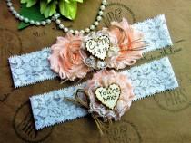 wedding photo - Personalized Garter Set~Rustic Heart With Initial's & Wedding Date~Wedding Garter Set~Country Chic Garter Set,Monogrammed Wedding Garter Set
