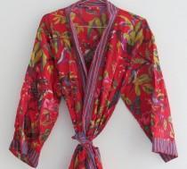 wedding photo - Hand Block Printed Kimono, Cotton Bathrobe, Dressing Gown, Indian Wood Block Prints, Cotton Kimono Robe, Feathers Print, Free Size Robe