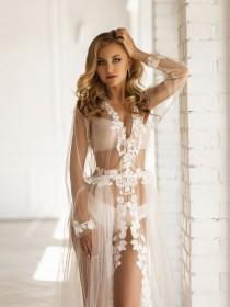 wedding photo - Leaf Flower Lace Wedding Robe, Tulle White Sheer Lingerie Robe, Floor Length Photo Shoot Bridal Gown