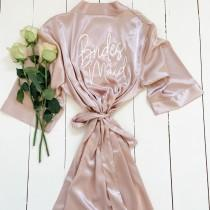 wedding photo - Rose Gold Bridesmaid Robes, Wedding Robes, Hen Party Robes, Bridal Shower Robes, Bachelorette Robes, Bride to Be Robes, Bridal Party Robes