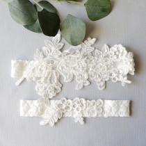 wedding photo - Wedding Garter Set, Ivory Beaded Lace Garter Set,Bridal Wedding Grter,Wedding Garter Set,White Lace Garter Set, Style No. GT-76