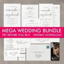 wedding photo - Wedding Invitation Template Bundle, Wedding Invitation Suite, Printable Wedding Invitation Set, Wedding Program, Wedding Menu, Simple Invite