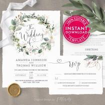 wedding photo - Wedding Invitation Template Download, Wedding Invitations, Wedding Template, Printable Wedding Invitation, Wedding Invites, Wedding Menu