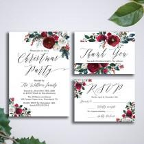 wedding photo - Christmas Invitation suite, Winter Printable Invite Suite, Holiday Invites Set, Watercolor floral wreath