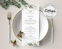 wedding photo - Boho Greenery Menu with White Roses (Wedding, Bridal Shower, Dinner, Brunch) • INSTANT DOWNLOAD • Editable, Printable Template, A109