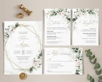 wedding photo - Greenery Wedding Invitation Template Set, Greenery Wedding Invite with White Roses • INSTANT DOWNLOAD • Editable, Printable Template, A109