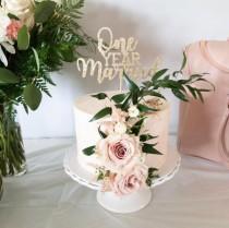 wedding photo - One Year Married Cake Topper - Glitter - Paper Wedding Anniversary. First Wedding Anniversary. Just Married. First Anniversary.