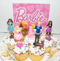 wedding photo - Barbie, Ken and Friends Birthday Cake Topper / Cup cake Decorations Set of 9 Fun Party Decorations