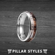 wedding photo - 6mm Zebra Wood Ring with Arrow Inlay Deer Antler Ring Mens Wedding Band Arrow Ring, Antler Wedding Bands Women Nature Ring Couples Ring Set