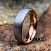 wedding photo - Rose Gold Tungsten Ring 6MM, Tungsten Ring, Brushed Silver, Mens Tungsten Wedding Band, Mens Ring Tungsten, By UnityRingDesigns